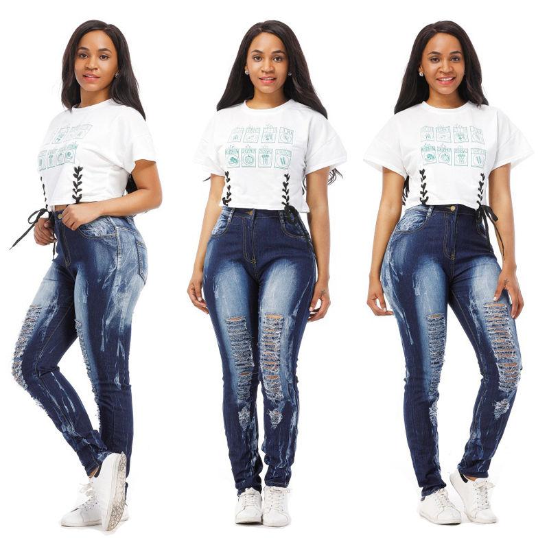 2017 Pop Slim Pencil Pants Women  Stretch Hole Ripped Jeans Ladies Fashion Skinny Denim Trousers Femme Pantalon slim low waist stretch denim jeans women 2017 ripped hole trousers fashion ladies skinny pencil pants
