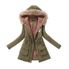 Winter Coat Thickened Fur Collar Cotton Coat Women Zipper Slim Drawstring Ladies Fleece Coats Hooded Long Jacket Wholesale
