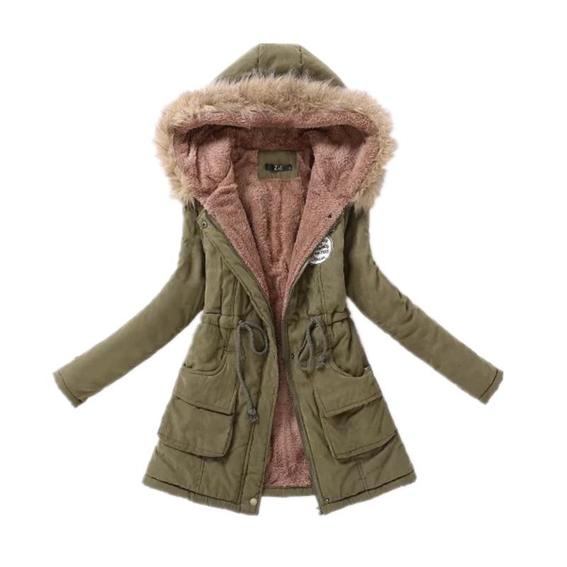 Zimní kabát zhuštěný kožešinový límec bavlněný kabát ženy zip úzký šňůrka dámská fleecová bunda s kapucí dlouhá bunda velkoobchod