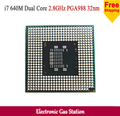Оригинальный Процессор Intel i7 640 М Двухъядерный 2.8 ГГц 32-нм TDP 25 Вт Scoket 989 PGA 4 МБ Кэш ноутбук ПРОЦЕССОРА
