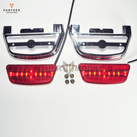 Chrome Motorcycle LED Light Rear Passenger Footboard Decorative Cover Case For Harley Touring Trike Softail