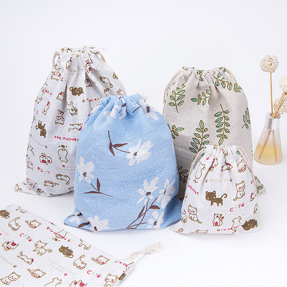 drawstring bag women 3 size small medium large Unisex Cartoon Printing Linen Drawstring Bag Travel Backpack