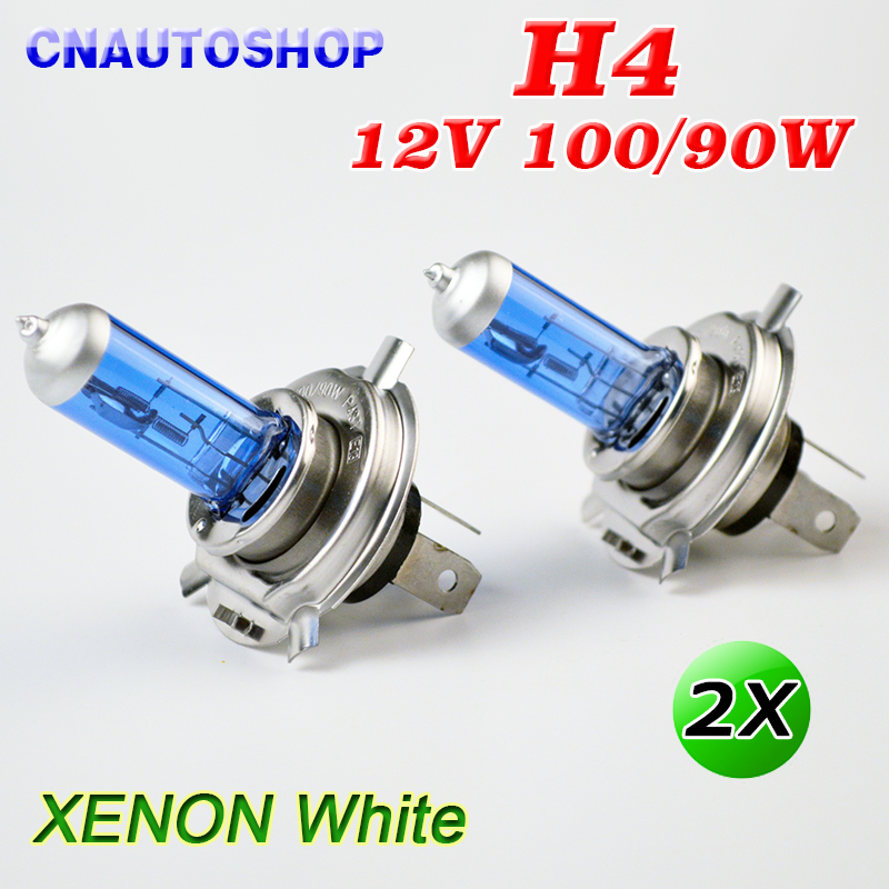 H4 Halogen Bulb 12V 100/90W Super White 2 PCS Dark Blue Glass Stainless Steel Base Car Lamp vik max adult kids dark blue leather figure skate shoes with aluminium alloy frame and stainless steel ice blade