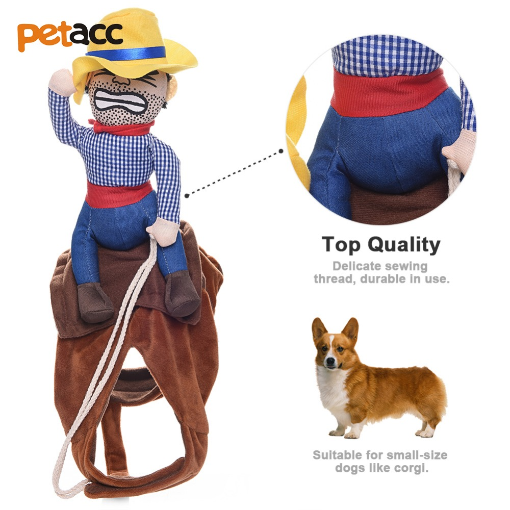 Petacc Novelty Funny Riding Horse Dog Costume Pet clothes Cowboy Dressing up Jacket for Small Medium Large Dogs