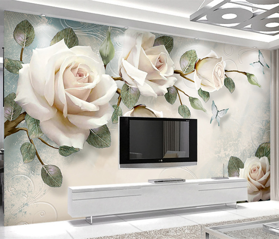 3D Custom Modern Photo Wallpaper Mural Painting White Rose Flowers For Living Room Bedroom TV Background Floral Home Decor Paper home decor 3 d wallpapers murals nature reeds photo wallpaper for living room bedroom tv sofa background paper mural