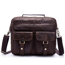 купить Men's Messenger Bag Genuine Leather Crossbody Handbag Vintage Shoulder Bag for Men Business Briefcase Laptop Satchel Casual Tote по цене 2736.28 рублей