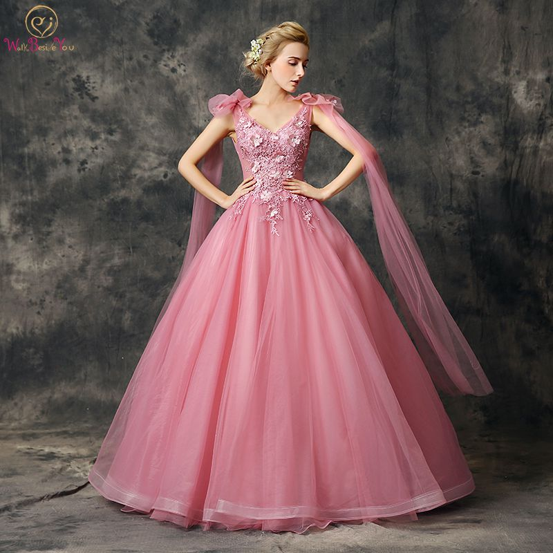 Walk Beside You Pink Quinceanera Dresses Ball Gowns Tulle Lace Applique Flowing Shoulder Floor Length Vestidos
