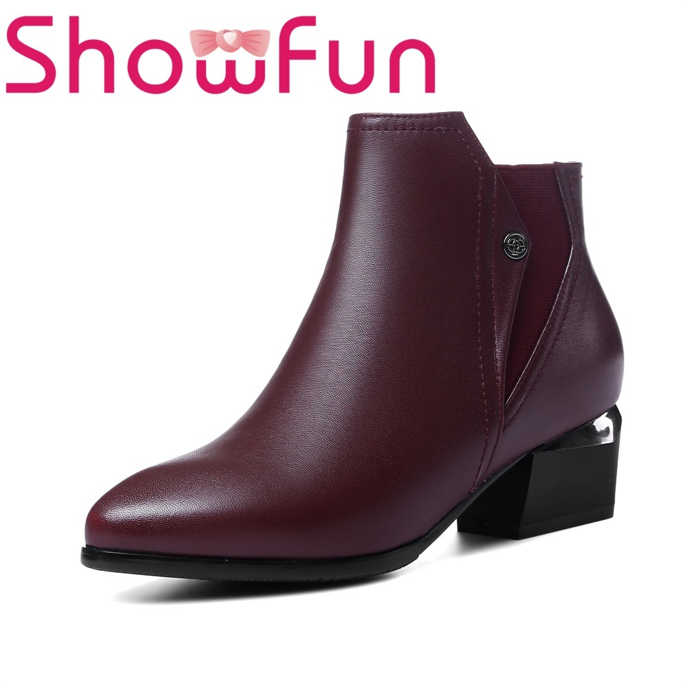 Showfun genuine leather shoes woman winter solid ankle pointed toe zipper short plush square heel boots women ankle boots pu leather short plush 7cm high thick block heel square toe white zipper winter black casual office lady boots
