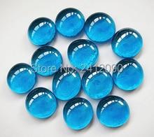 Home Decoration BLue Glass Marbles 80 pcs Flat Glitter Bead ,Glass Stone Craft Gift Pebble Stones For Vase Fish Tank Aquarium