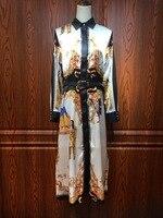 2018 NEW Autumn Elegant Royal Fancy Prints Belted Satin Dress Long Design Women Long Sleeve Silky Dress