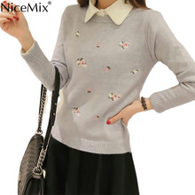 NiceMix 2016 Winter Clothes Women Knitted Sweater Flower Embroidery Pullover Sweaters Ladies Elegant Knitwear