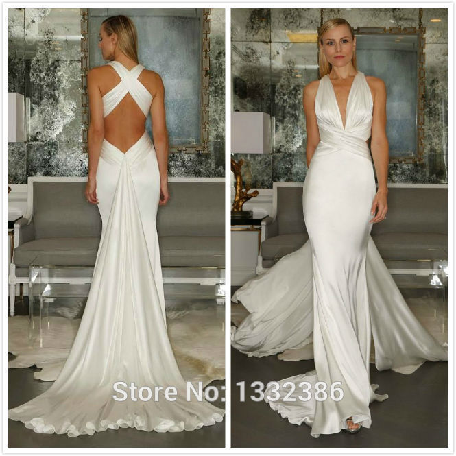 Y Backless Silk Satin Wedding Dress V Neck Long Train Bride Dresses 2017 With Criss Cross Back In From Weddings Events On