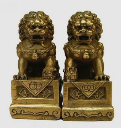 Copper Brass CHINESE Crafts Asian China Chinese Folk Fengshui Foo Fu Dog Guardion Door Lion Statue Sculpture