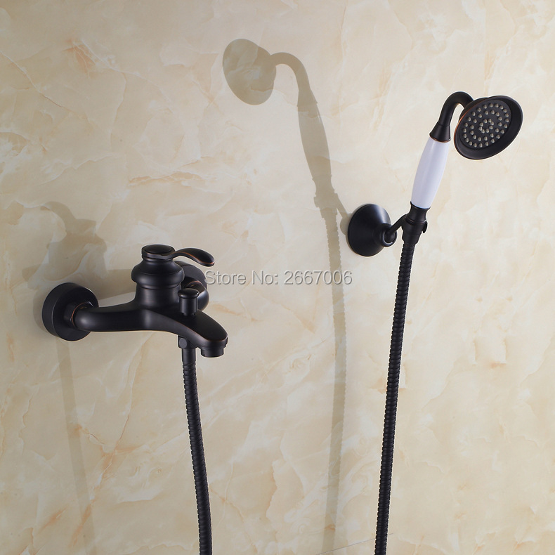 Free shipping Single Handle Bath faucet Black Bathtub Shower Faucet Handheld Shower Head Bathroom Faucet Set