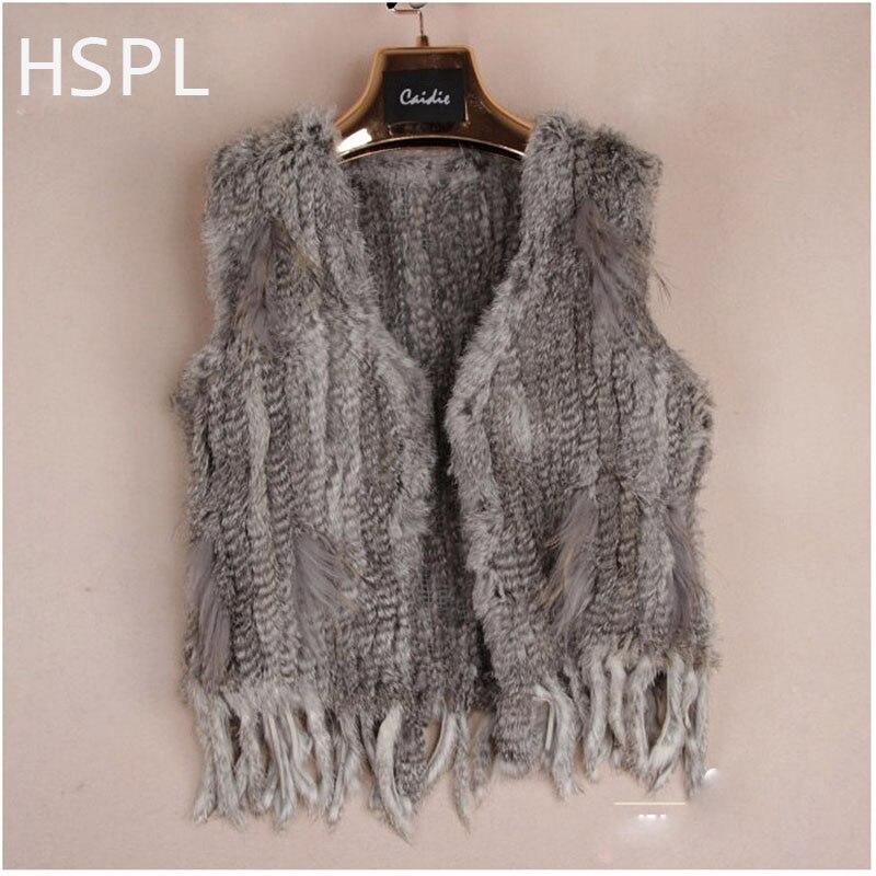 HSPL Europe Popular Genuine Rabbit Knitted Fur Gilet Women Sleeveless Fur vest with Tassel without Collar Vest Colete De Pele