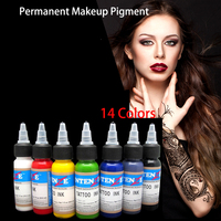 1 full set 14Colors/ 30ML/ Bottles permanent makeup pigment Tattoo Ink Pigment Set Kits for Body Art Tattoo Inks
