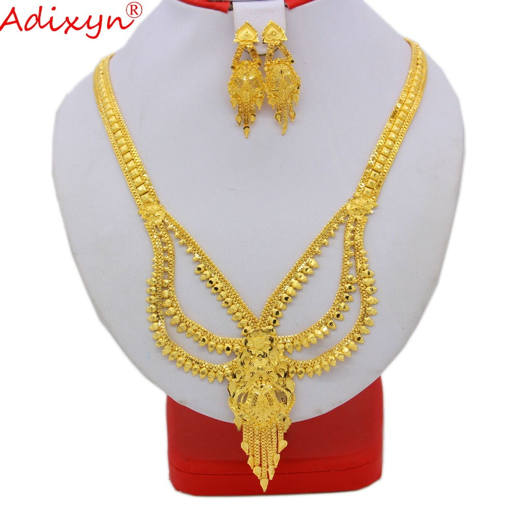 Adixyn India Gold Color/Brass Necklace/Earrings Jewelry Set For Women/Girls African/Ethiopian Bridal Gifts N09167 цена