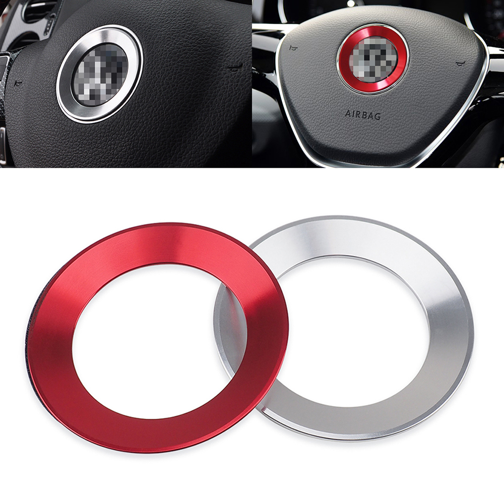 Metal Ring Frame Steering Wheel Center Emblem Logo Sticker Car Tuning For Volkswagen GTI Arteon Passat EOS BeetleT4 T5 Polo