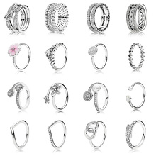 16 Style Silver Ring Charms Love Heart Crown Hollow Round Flowers Crystal Rings For Women