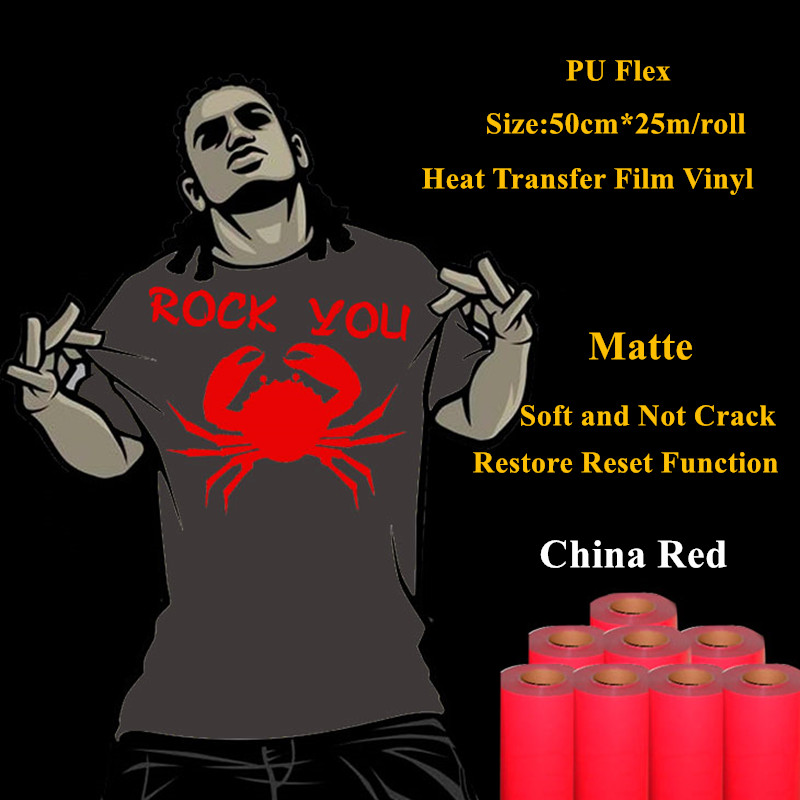 PU Flex heat transfer vinyl for clothing China red matte thermel press film for t shirt heat transfer film vinyl 50cm*25m/roll free shipping 5rolls 50cmx100cm heat transfer vinyl film pet metal light mirror finish for textile print