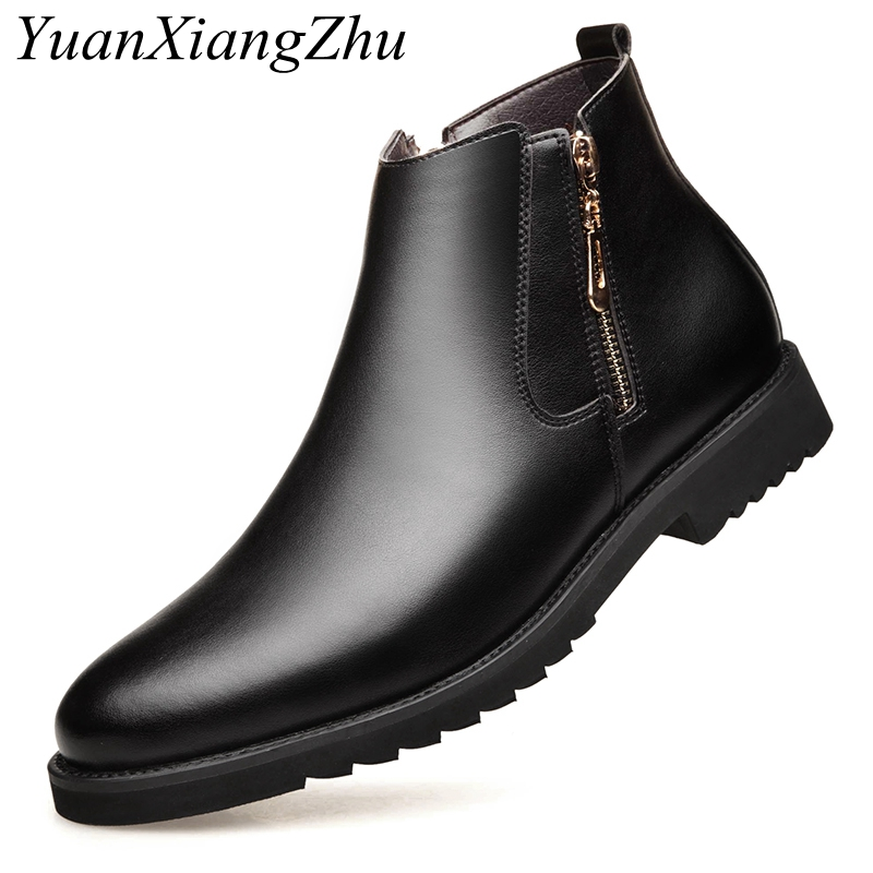 NEW Men Chelsea Boots British Style Fashion Ankle Boots Men Leather Boots Side zipper Warm Office Work Shoes Men Casual Shoes bimuduiyu new arrival fashion handmade super warm autumnwinter men shoes casual british style ankle boots wipe color snow boots