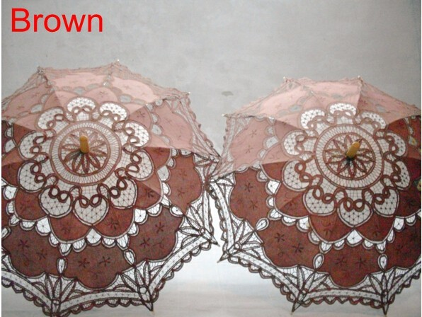 New Lace Umbrella Cotton Embroidery White/Ivory Battenburg Lace Parasol Umbrella Wedding Umbrella Decorations Free Shipping 31