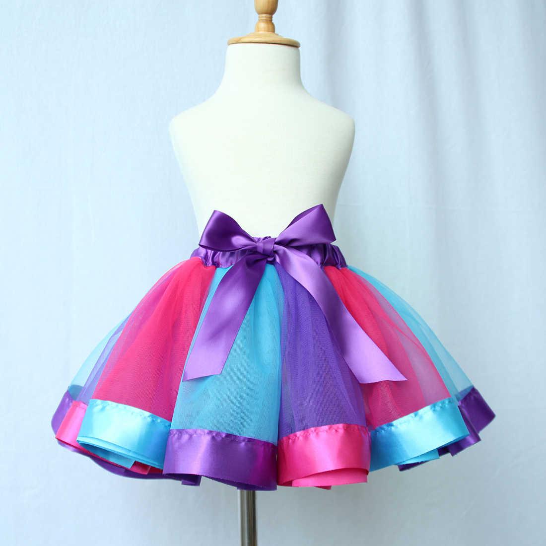 Falda de moda de los niños baile princesa falda ropa para fiesta de bebé niña regalo niño chico de arco iris Tutu