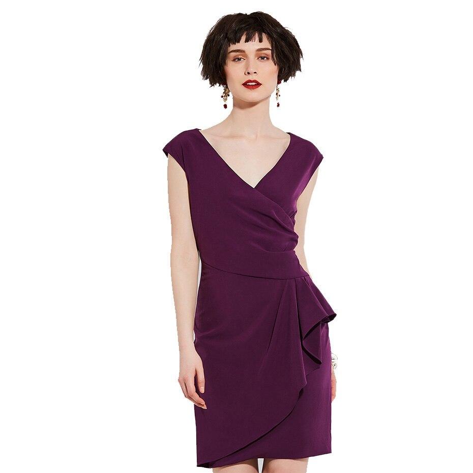 Women Work Dress 2018 Knee-Length Elegant Sleeveless V Neck Elegant Lady Fashion Day Dress Sheath Women Straight Party Dresses