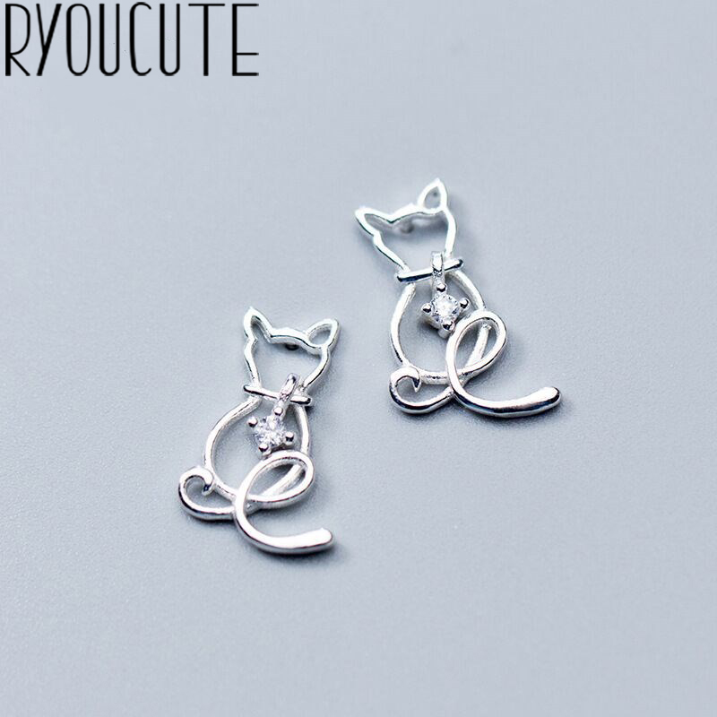RYOUCUTE Real Silver Color  Cat Earrings For Women Wedding Jewelry Korean Pure Silver Zircon Earring Pendientes Bijoux