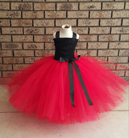 Red Black Kids Girls Clothes Hand Made Dress Nice Clothes Lovely Baby Girls Wedding Party Bridesmaid