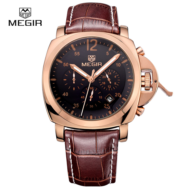 MEGIR Original Men Watch Top Band Luxury Chronograph Military Watches Leather Quartz Wristwatches Relogio Masculino for
