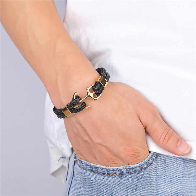 77efda729c Tom Hope Fashion Black Gold Silver Color Anchor Bracelets Men Charm  Survival Rope Chain Paracord Bracelet Male Wrap Metal Hooks