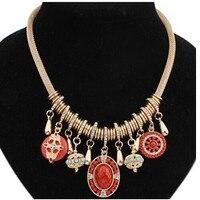 Pedra cameo pingente colar bohemian kpop retro do vintage colar de strass acessórios de noiva/maxi colar collier femme