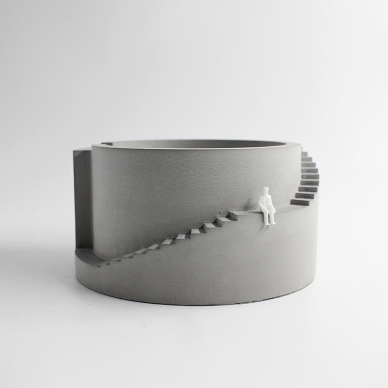 Силиконовые цветочный горшок бетон круговой здания с лестницы форма Кашпо из цемента для бонсай инструмент