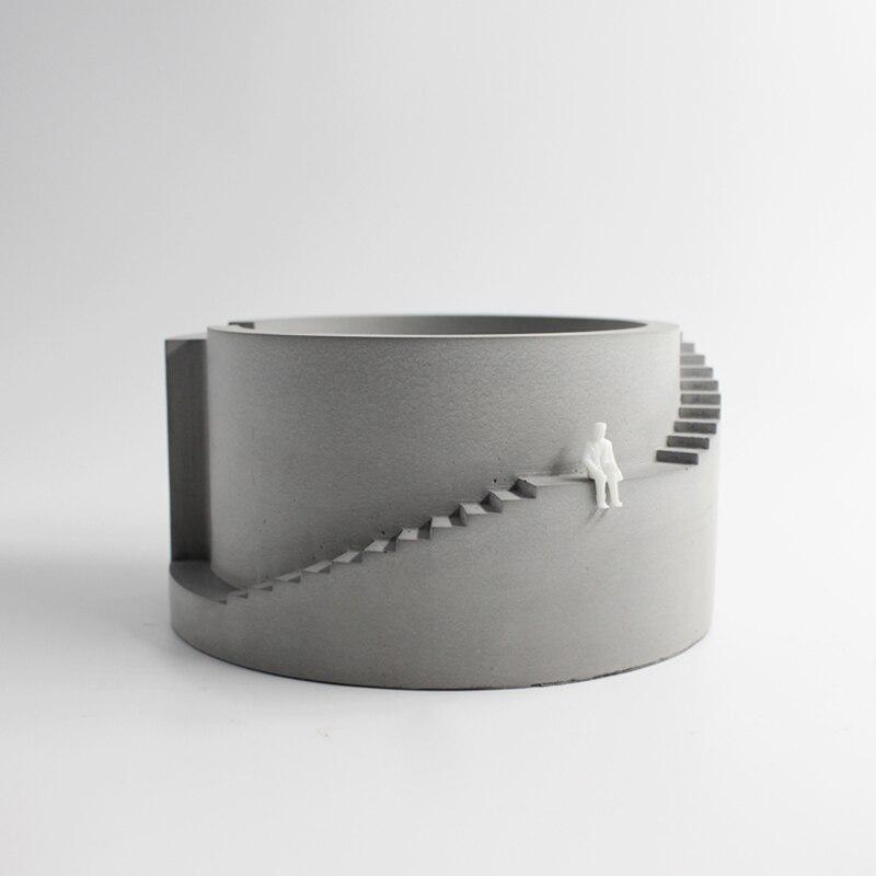 Construction circulaire concrète de moule de pot de fleur de Silicone avec le planteur de ciment de forme d'escalier pour l'outil de bonsaï