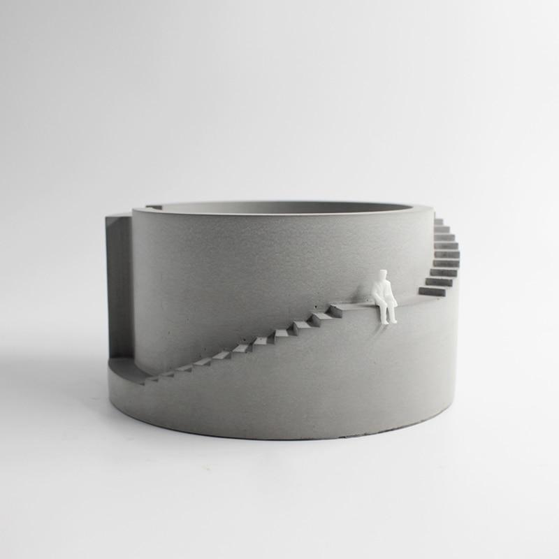 Silicone Moule Pot De Fleurs Béton Bâtiment Circulaire avec Escalier Forme Ciment Planteur pour Bonsaï Outil