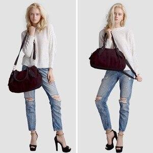 Image 3 - Nico Louise Women Real Suede Leather Boston Bag Original Design Lady Shoulder Traveling Doctor Handbag Top handle Bags Sac