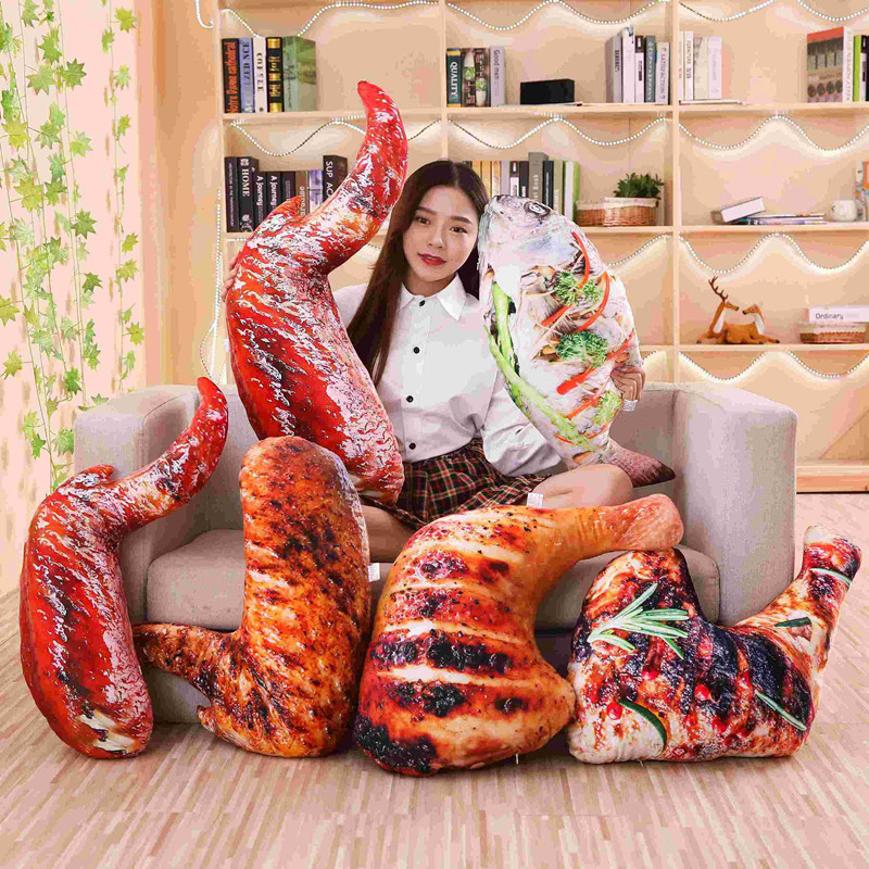 Plush Grilled Fish /Chicken Leg Toys Simulation Food Plush Throw Pillow Stuffed Roasted Wing Soft Doll Kids Creative Toys