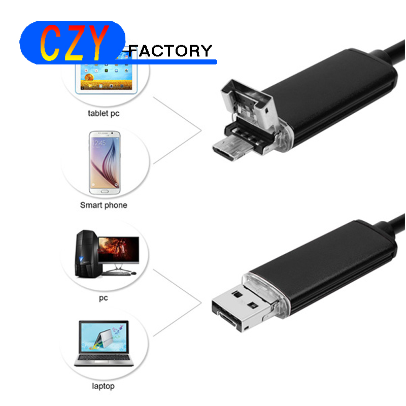 Endoscope Camera 2 in 1 Android PC USB 7MM Waterproof Endoscope Inspection Ip Camera Inspection with 1/2/5/10M Length Cable 7mm lens mini usb android endoscope camera waterproof snake tube 2m inspection micro usb borescope android phone endoskop camera