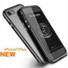 Luxury Brand for iphone7 7 Plus Bumper Case Aluminum Frame & Transparent PC Back Cover Metal Button Case for iphone 7 Cover
