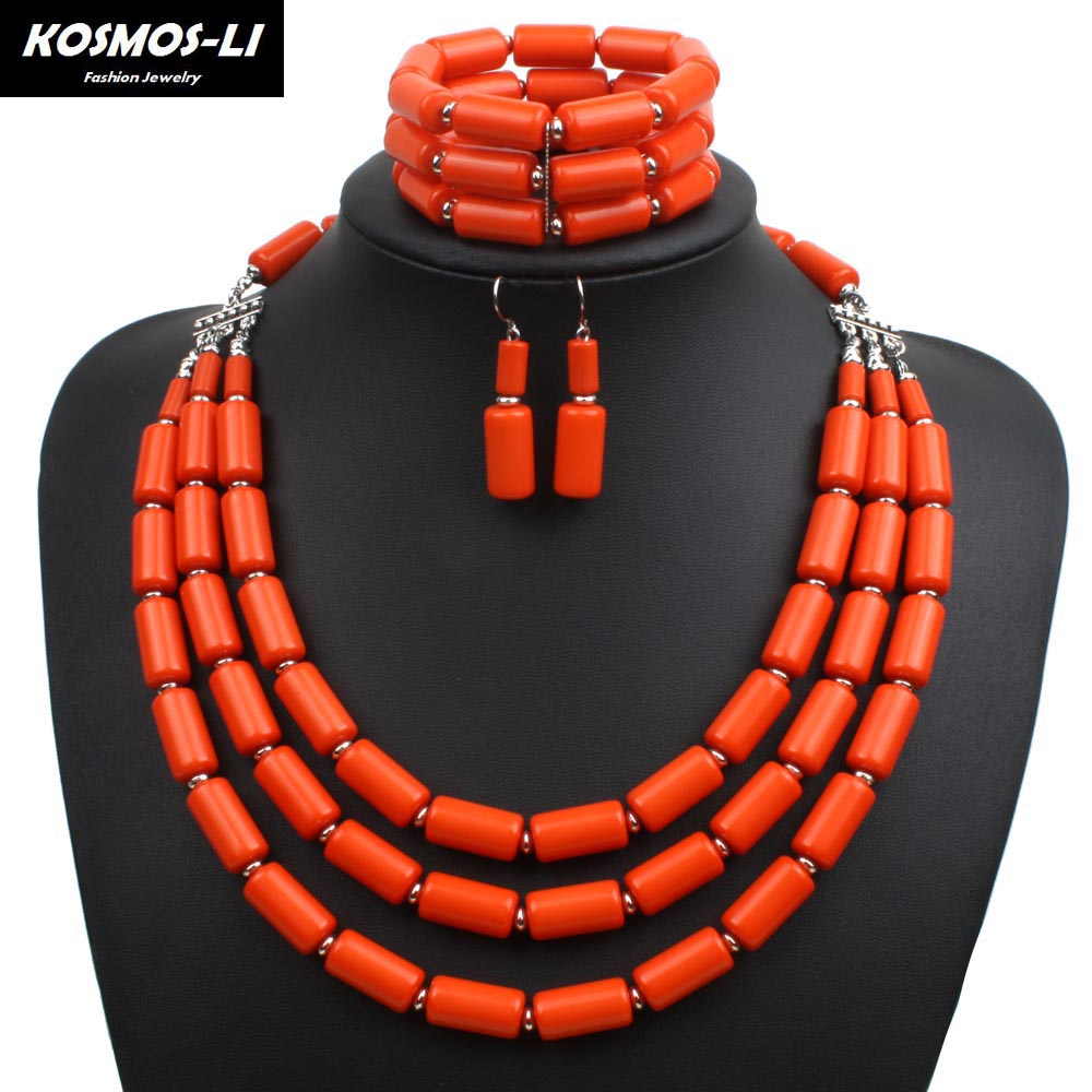 Strand Jewelry Set Fashion Acrylic Bead Necklace Bracelet Earring Women Statement Africa ...