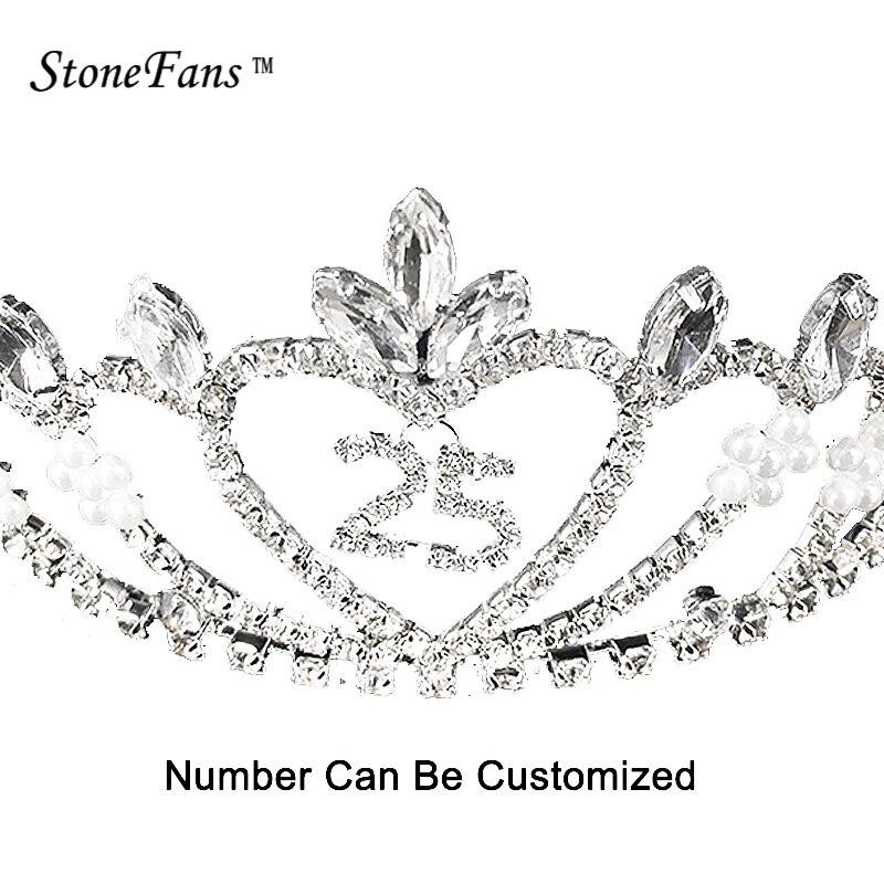d10abf07a StoneFans Personalizado Elegante Coroa de Pérolas Tiara Tiaras Coroas de  Aniversário Dos Miúdos Para Meninas Headbands Cabelo Rainha Clipe Decoração  057