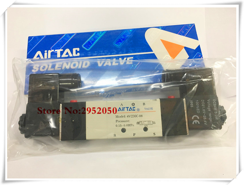 все цены на Free shipping Pnematic Airtac Solenoid Valve 5/3 5 Way 3 Position 1/4