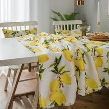 Simanfei Lemon Print Decorative Linen and Cotton waterproof Table Cloth Tablecloth Rectangular Table Cover  Home Hotel Textile недорого