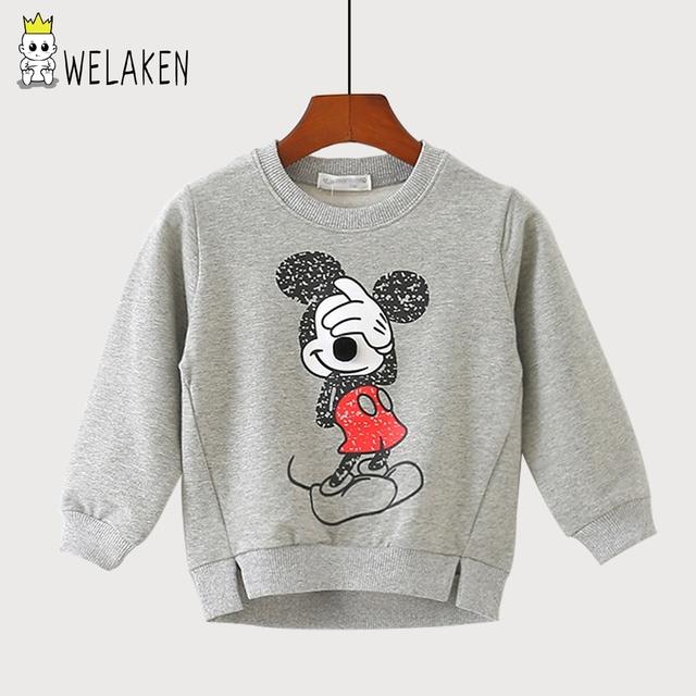 Welaken 2017 nova primavera camisola das crianças para 3-10yrs bebê das meninas dos meninos dos desenhos animados padrão hoodies crianças casuais outerwear