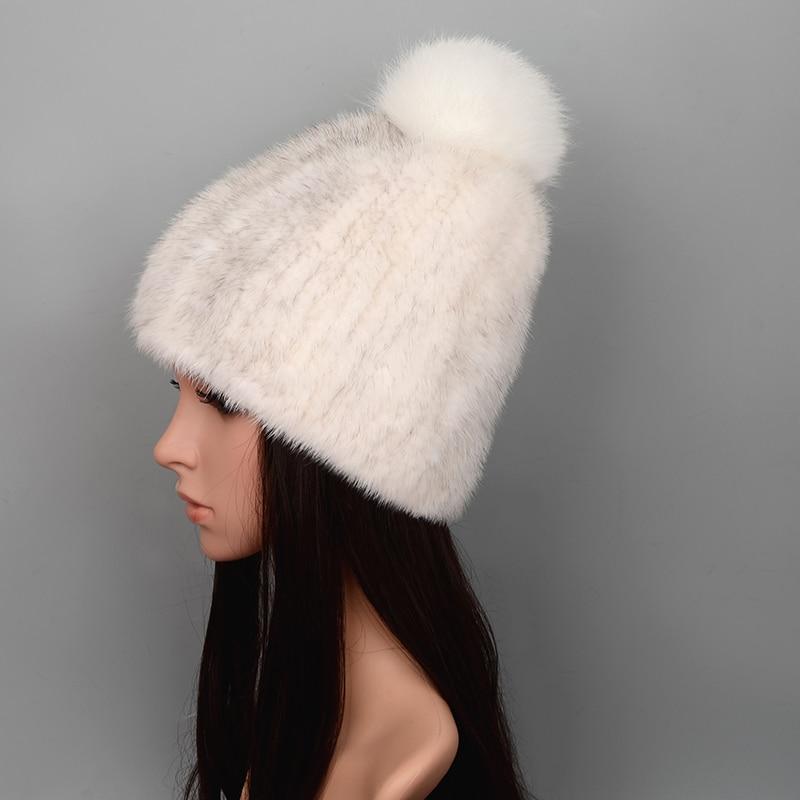 WUCIFO Hot Sale Real Mink Fur Hat Women Winter Knitted Mink Fur Beanies Cap With Fox Fur Pom Poms Handmade New Thick Female Cap