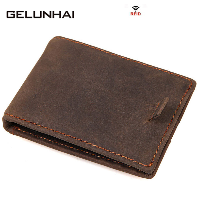 2017 New Arrival Time-limited Gelunhai Genuine Leather Cards Men Wallets Holders Case Organizer Bags Holder Wallet Small Purse