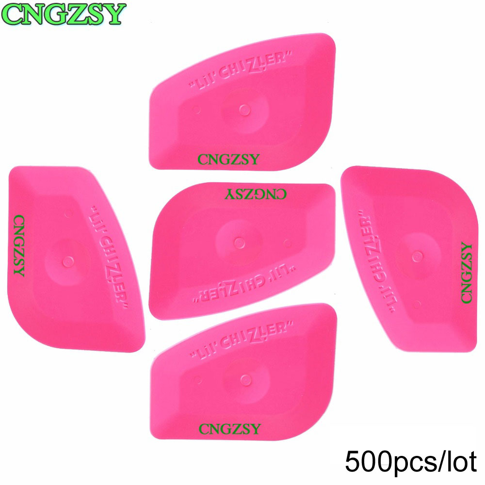500pcs Mini Pink Plastic Squeegee Hard Card Car Cleaning Home Window Film Tint Wrapping Tools 500A25