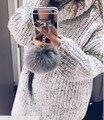 Bola de pêlo de coelho borla espelho tpu case para iphone 6 6 s 7 plus 5 5S 4S samsung galaxy note 7 5 4 3 s5/4/3 s7 s6 edge plus A5/7/8
