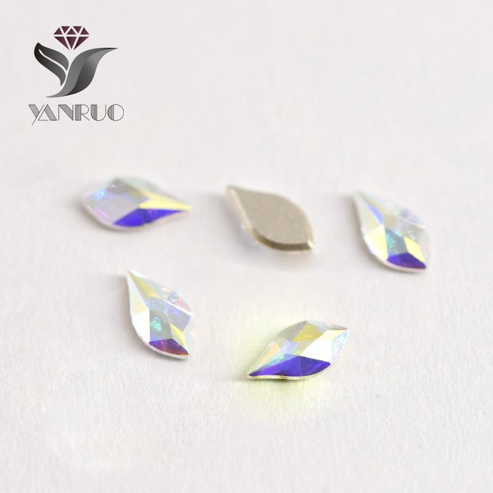 YANRUO 72pcs 5X8mm Crystal AB 3D Kristal Dırnaq sənəti Rhinestone - Dırnaq sənəti - Fotoqrafiya 2